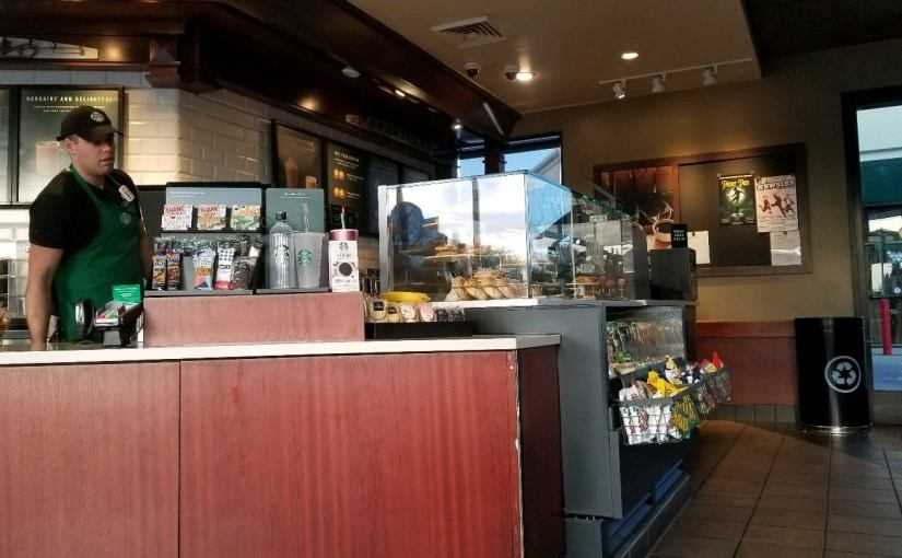 View of the barista counter at Starbucks
