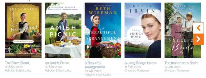 Five book covers that have a bodice ripper feel, but are really clean and wholesome Amish themed romance