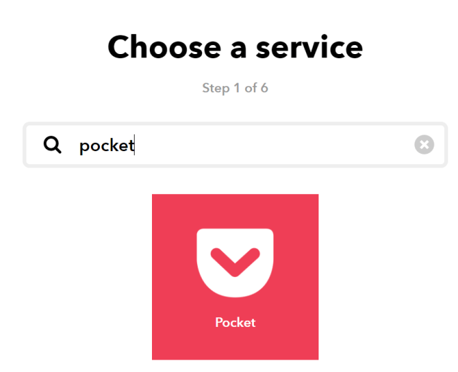 "Screenshot of a search for ""Pocket"""