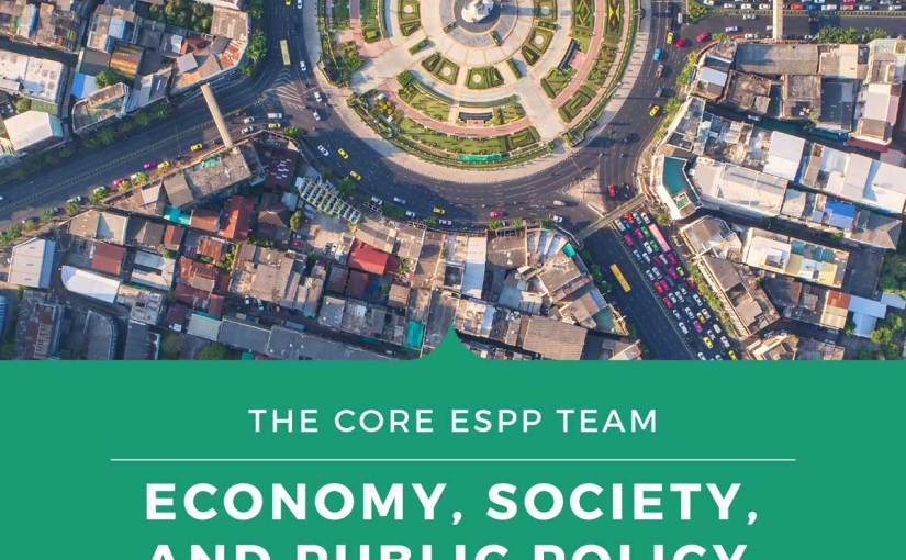 Green book cover of Economy, Society, and Public Policy featuring an overhead photo looking down on a city