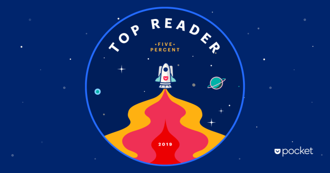 "Pocket badge that reads ""Top Reader - Five Percent - 2019"""