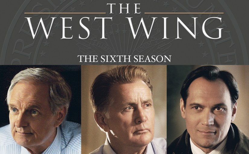 Portion of the cover of the 6th Season of the West Wing collection featuring Bartlett, Vinnick and Santos