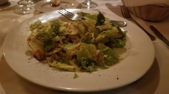 The Caesar salad with anchovies.
