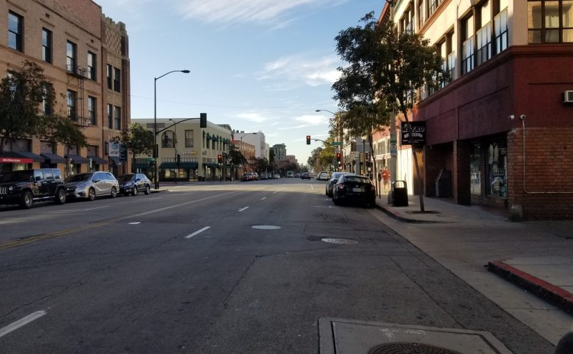 View of downtown Pasadena looking South on Raymond Avenue just north of Colorado Blvd.