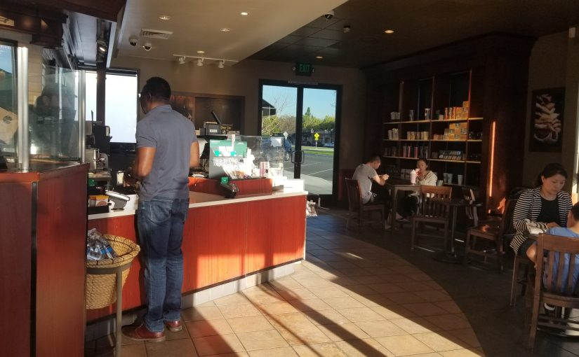 View of most of the interior of Starbucks
