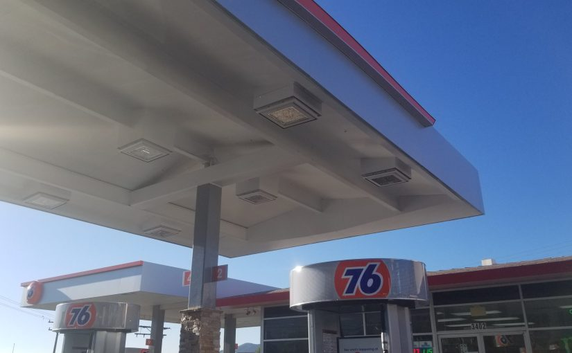 A view of the new pumps and refurbished awning at 76 Station