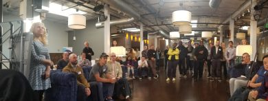 View of Innovate Pasadena Friday Coffee crowd from the stage