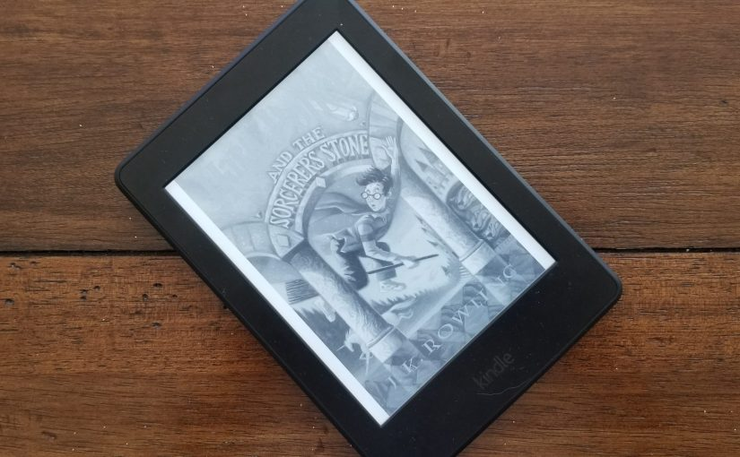 Cover of Harry Potter and the Sorcerer's Stone on a Kindle Paperwhite e-reader