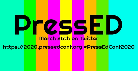Rainbow Background with basic information about PressEd Conference