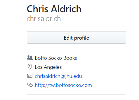 Screenshot of my GitHub accounts details featuring a link to my website