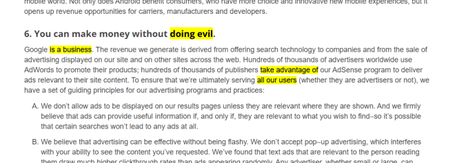 "Screenshot of a Google Page with the words ""Doing evil is a business. take advantage of all our users"" disaggregated, but highlighted so as to reveal a message."