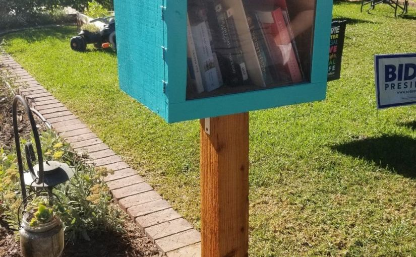 Small teal colored book exchange