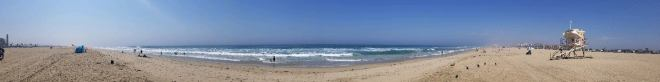 panorama shot of the beach and surf