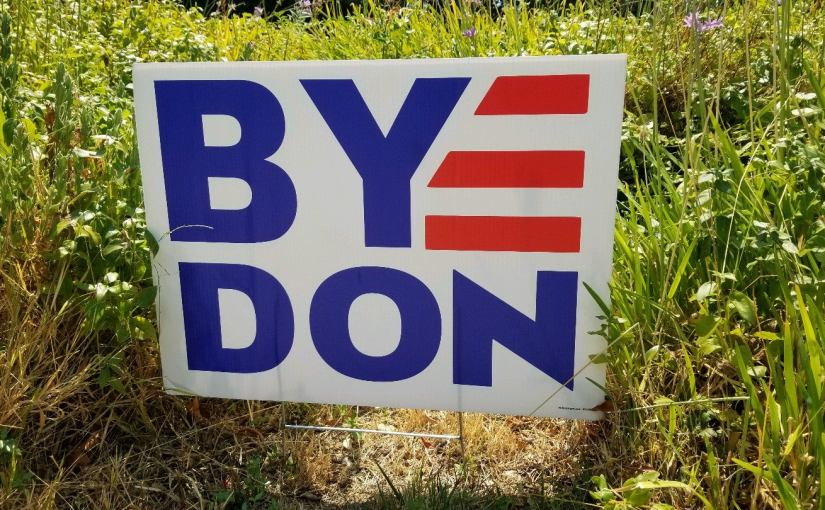 a lawn sign political poster that Reads: Bye Don