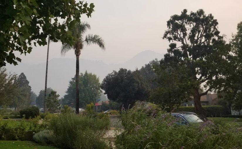 View from my suburban neighborhood to the mountains which are obscured by heavy smoke