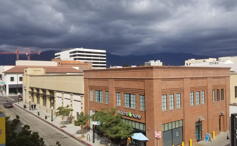 View of Pasadena North toward the mountains and some dark and ominous clouds