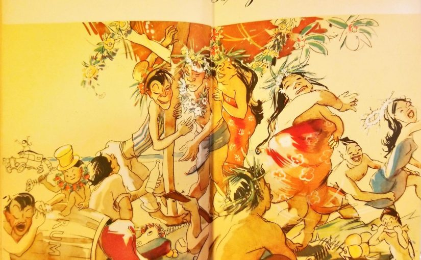 Cartoon of a Polynesian island party from Trader Vics Book of Food and Drink
