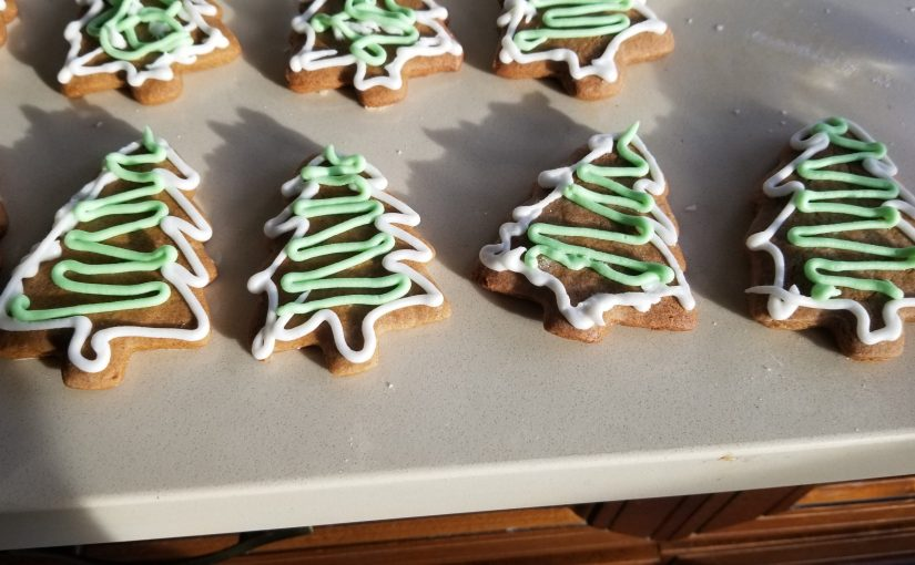 close up of a few rows of gingerbread cookies in the shape of Christmas trees with white and green piped frosting