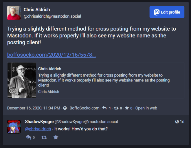 screen capture of a Mastodon post which gives credit to Boffosocko.com at the bottom of the post.
