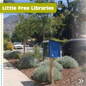 Photo clipped from the Altadena Libraries newsletter featuring a street view of the blue Little Free Library #8424 box
