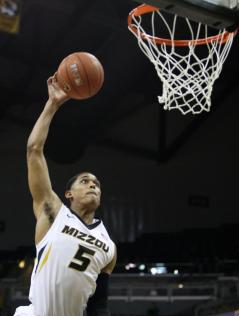Junior guard Jordan Clarkson prepares to make a layup during the first half of Missouri's game against Vanderbilt on Wednesday, Feb. 19 at Mizzou Arena, in Columbia. Vanderbilt led 21-20 at the end of the first half. MIKE KREBS/The Maneater