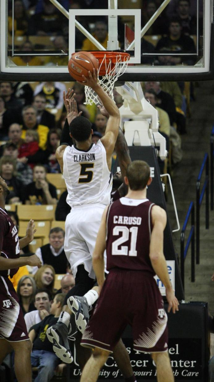 Junior guard Jordan Clarkson attempts a field goal during the first half of Missouri's game against Texas A&M on Wednesday, March. 5 at Mizzou Arena, in Columbia. Texas A&M lead at the 30-20 at the half. MIKE KREBS/The Maneater