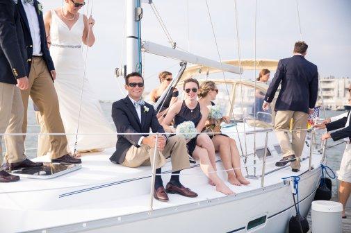 boat ride entrance to little egg harbor yacht club wedding