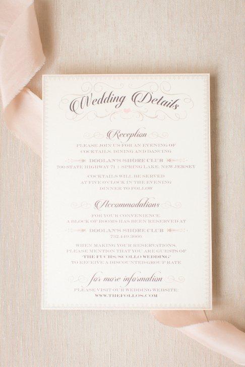 Wedding Details insert for NJ shore wedding