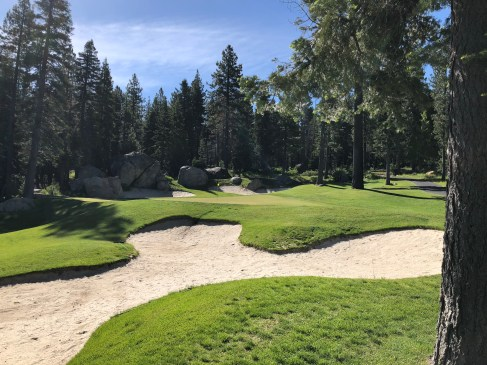 Close view of awesome 12th green/bunker complex.