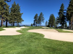 Closer view of 16th green and bunkers.