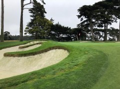 Closer view of 6th green and bunkering.