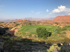Side view of 15th green from 16th tee boxes.