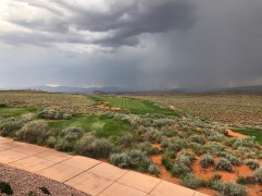 View of the 10th hole of Championship Course from clubhouse during storm delay. Looked to be in great shape.