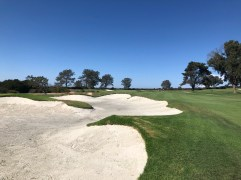 4th approach with a swanky new bunker on the left side of the fairway.