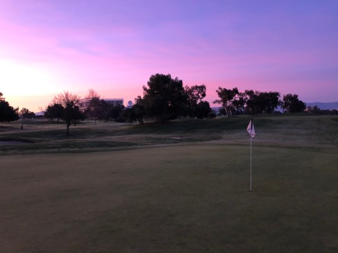 Side view of 1st green pre-sunrise.