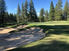 Closer view of 15th green and bunkering.