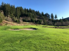 Side view of cool double 9th/18th green complex.