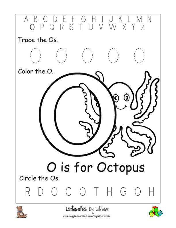 Letter O Alphabet Worksheets