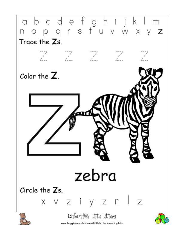Letter Z Alphabet Worksheets