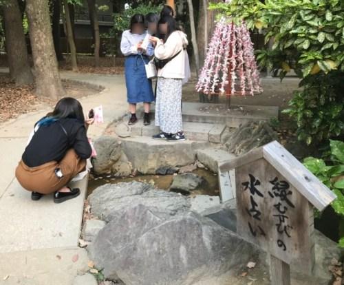 生田神社の水みくじを読む女の子