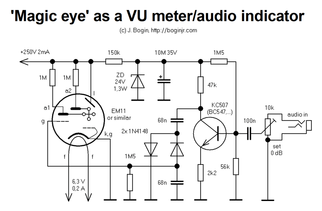 Magic eye tuning indicator as a VU meter