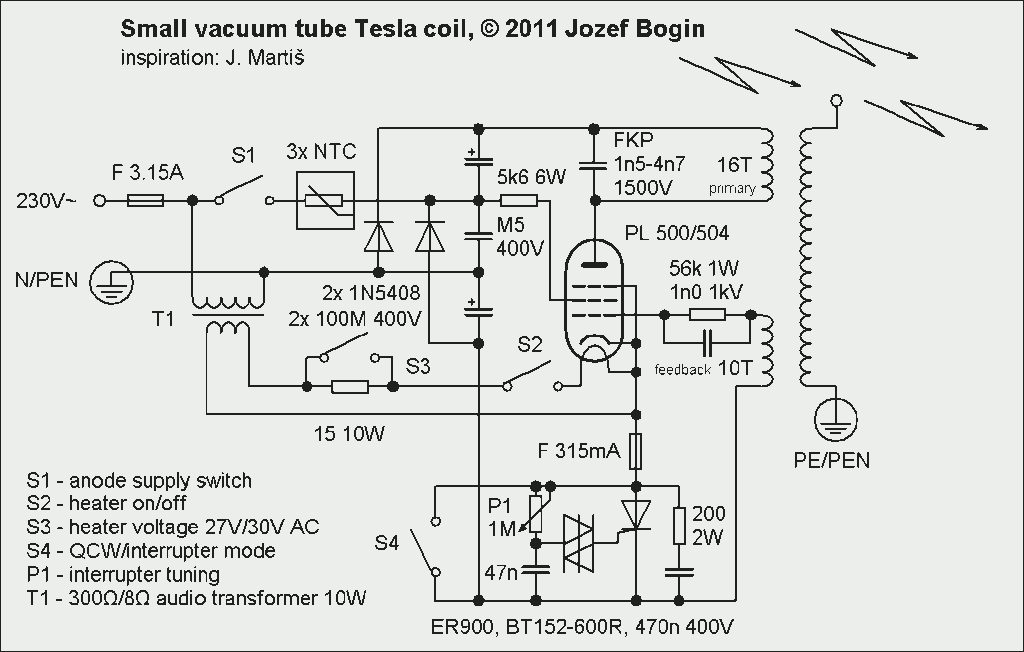 Small Vacuum tube Tesla coil (VTTC)