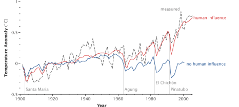 Climate models can only reproduce measured rises in temperature (dotted line) by including human greenhouse gas emissions as a forcing factor (red line). With only natural drivers (solar, volcanic) the recent temperature increase is not modelled (blue line). Image credit: Rebecca Lindsey via Wikimedia Commons.
