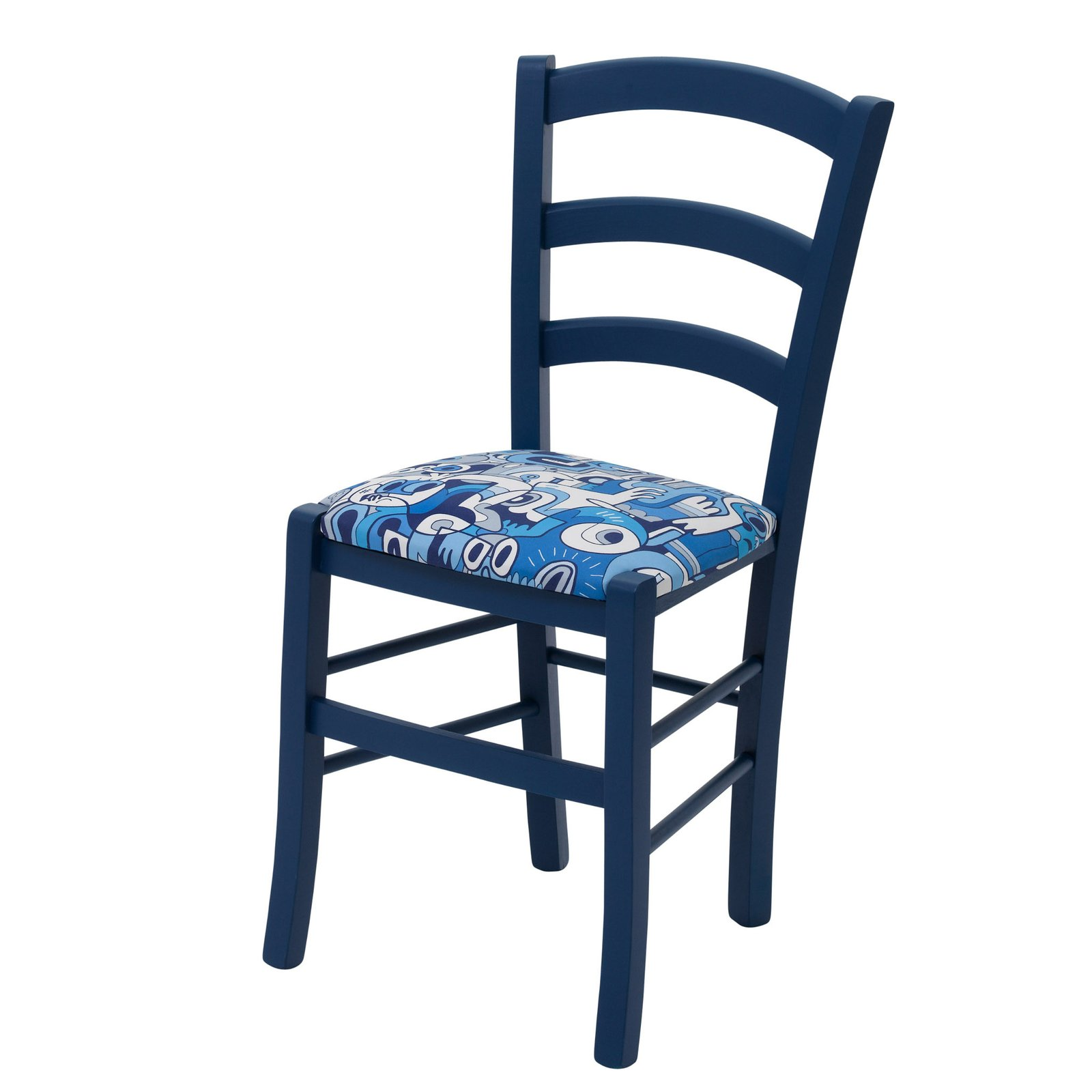 Kitchen Chairs Wood Blue Kitchen Chairs Daisy By Cheeky Chairs Upholstered In Deep Blue Splash By Jon Burgerman