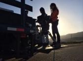 A-Cam 1st AC Lili Soto rides a lift gate like a boss