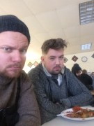 Brandon Boulay, our B-Cam op for much of the show and myself at lunch