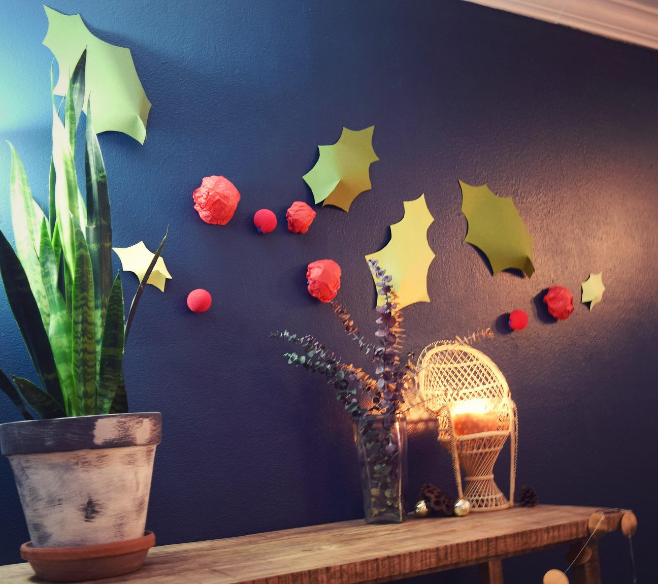 diy festive holiday 3D wall decor idea