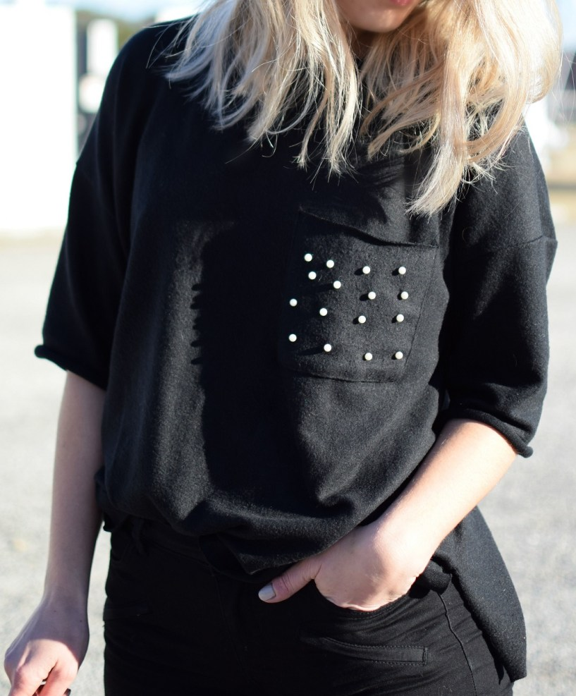 black zara pearl sweater embellished