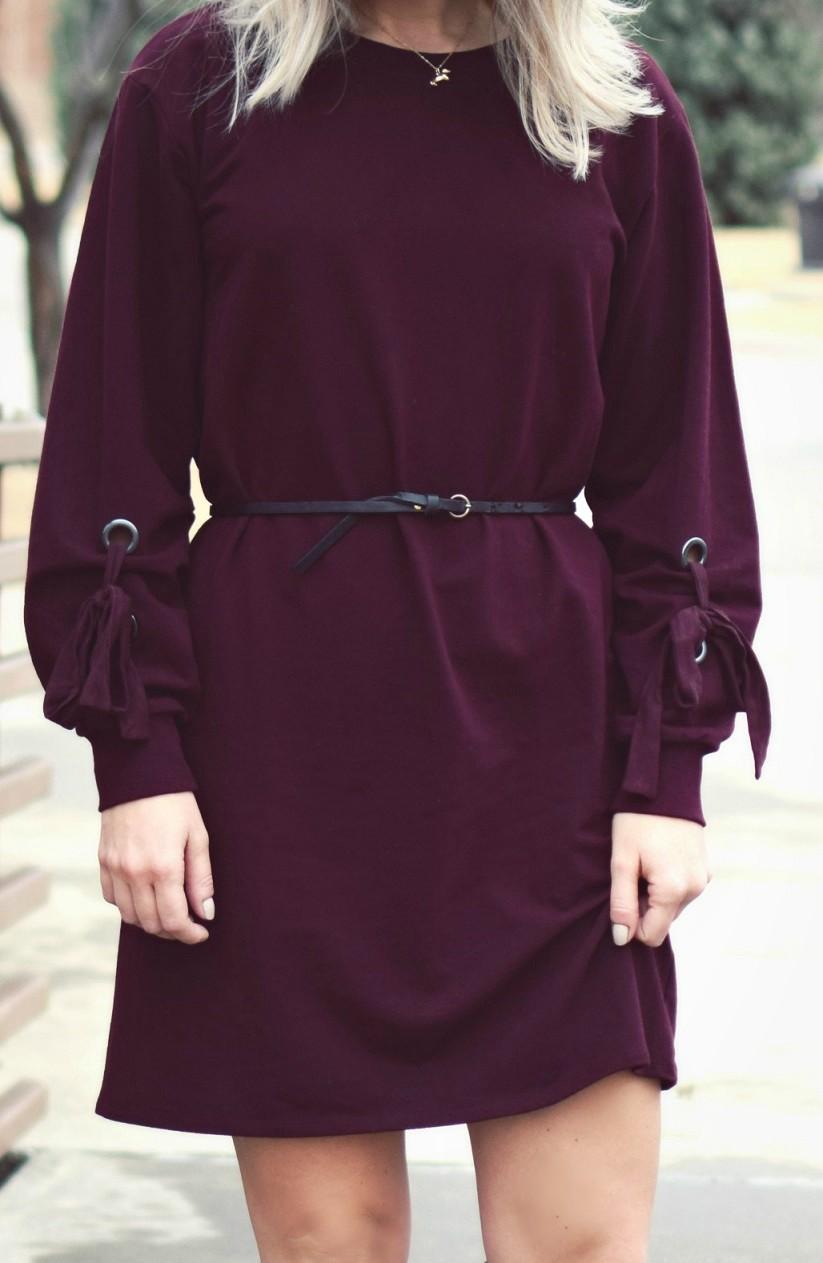 vince camuto le tote tie sleeve maroon dress