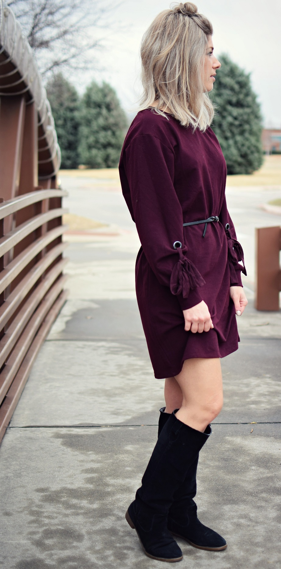 vince camuto maroon dress and top knot